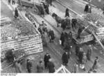 German civilians building a roadblock near the Hermannstraße S-Bahn station, Berlin, Germany, 10 Mar 1945, photo 6 of 6