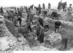 German Volkssturm soldiers digging anti-tank ditches outside Berlin, Germany, Feb-Mar 1945