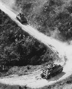 American- and Chinese-manned M4 Sherman tanks on the Burma Road, circa 1945