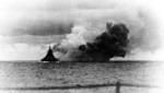 Bismarck firing on Hood and Prince of Wales, Battle of Denmark Strait, 24 May 1941, photo 1 of 8; photographed from Prinz Eugen