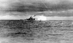 Bismarck firing on Hood and Prince of Wales, Battle of Denmark Strait, 24 May 1941, photo 3 of 8; photographed from Prinz Eugen