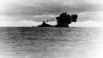 Bismarck firing on Hood and Prince of Wales, Battle of Denmark Strait, 24 May 1941, photo 5 of 8; photographed from Prinz Eugen