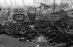 Charred remains of Japanese civilians after the Operation Meetinghouse bombing, Tokyo, Japan, 10 Mar 1945