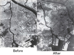 A before-after air raid comparison of aerial views of Tokyo, 1945