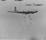 B-29 bombers of US 500th Bomb Group dropping incendiary bombs over Yokohama, Japan, 29 May 1945