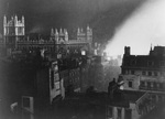 The Record Office in London, England, United Kingdom lit by a large fire, 1940