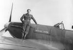 British pilot Barrie Heath of No. 611 Squadron RAF posing with his Spitfire fighter, 1940