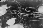 Pattern of condensation trails left by British and German aircraft after a dog fight over Britain, 18 Sep 1940