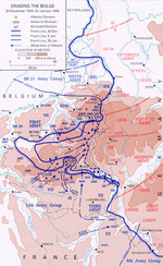 Map showing American troops reclaiming territory lost during early days of the Battle of the Bulge, 26 Dec 1944-5 Jan 1945