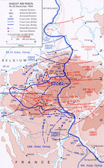 Map showing German gains during first days of the Battle of the Bulge, 16-25 Dec 1944