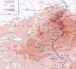 Map showing front lines at the Ardennes forest immediately before the Battle of the Bulge, 15 Dec 1944