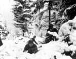 Men of US 290th Regiment in snowy terrain near Amonines, Belgium, 4 Jan 1945