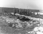 German prisoners of war digging graves for killed men of US 101st Airborne Division, near Bastogne, Belgium, late Dec 1944