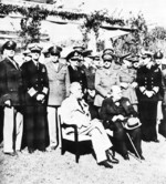 Roosevelt and Churchill at Casablanca Conference, French Morocco 22 Jan 1943; rear row L to R: Gen Arnold, Adm King, Gen Marshall, Adm Pound, Air Chief Marshal Portal, Gen Brooke, Field Marshal Dill, Adm Mountbatten