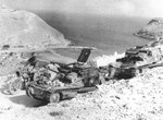 Abandoned Italian L3 and L3 cc tankettes on the road overlooking Bardia Harbor, Libya, Jul 1941