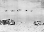 Gladiator biplane aircraft of No. 3 Squadron RAF returning to an airfield near Salum after a patrol over Bardia, Libya, Jan 1941