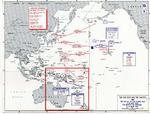 Map depicting the Battle of Coral Sea and the Battle of Midway in May-Jun 1942