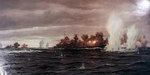Painting by Claus Bergen depicting the German heavy cruiser Prinz Eugen and battleship Bismarck firing on British warships Hood and Prince of Wales