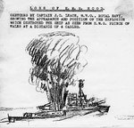 Sketch of the explosion on Hood by Royal Navy Captain J. C. Leach for the 2nd Board of Enquiry, 1941