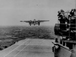US B-25 taking off from USS Hornet for the Doolittle Raid, 18 Apr 1942