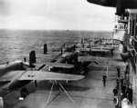 B-25 Mitchell bombers aboard USS Hornet, Apr 1942, photo 3 of 9