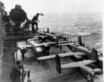 B-25 Mitchell bombers aboard USS Hornet, Apr 1942, photo 4 of 9