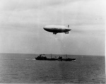 US Navy blimp L-8 making rendezvous with Doolittle Raiders fleet, off California, United States, 11 Apr 1942