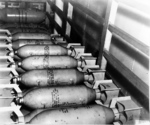 Bombs aboard USS Hornet, Apr 1942; note 100-pound bombs for Navy dive bombers in the foreground and 500-pound bombs for Army B-25 bombers in background