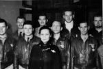 Song Meiling with Doolittle Raiders Frank Kappeler, Charles Greening, Kenneth Reddy, Lucian Youngblood, Eugene McGurl, Jacob Manch, Waldo Bither, and Rodney Wilder, Chongqing, China, 29 Jun 1942