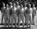 Doolittle Raiders John Hilger, Charles Greening, Thomas White, Donald Smith, Dean Davenport, W. R. Pound, William Bower, James Macia, and Denver Trulove in Washingoton DC, United States, 18 Jun 1942