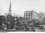 Bodies of victims of the 13-14 Feb 1945 Dresden bombing piled in the Germania statue plaza, circa mid-Feb 1945