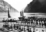 Chinese troops at a ferry point along the Yangtze River, Hubei Province, China, Feb 1943