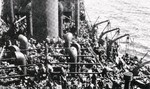 Allied troops aboard the ship Guinean after being evacuated during Operation Ariel, off Western France, late May 1940