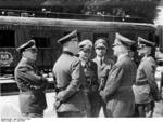 L to R: Joachim von Ribbentrop, Wilhelm Keitel, Hermann Göring, Rudolf Heß, Adolf Hitler, and Walther von Brauchitsch before the railroad car that hosted the French surrender, Compiègne, France, 22 Jun 1940
