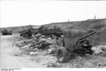 Destroyed British universal carrier and QF 2 pounder anti-tank gun in Calais, France, May 1940