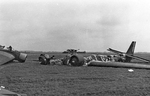 Crashed German Ju 52 aircraft in a field in the Netherlands, May-Jun 1940