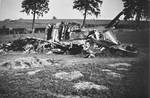 Wreckage of a British Fairey Battle bomber, France, May 1940