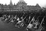 Soviet soldiers lowering German flags during the Victory Day Parade, Moscow, Russia, 24 Jun 1945