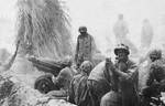 Howitzers firing in support of advancing Marines, Betio, Tarawa Atoll, 22 Nov 1943