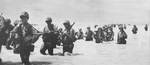 Men of 3rd Battalion, 6th Marine Division wading ashore at Green Beach, Betio, Tarawa Atoll, 22 Nov 1943