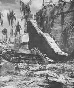 Japanese command post after American shelling and attack, Betio, Tarawa Atoll, 21 Nov 1943