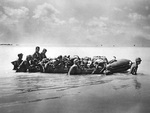 Wounded US Marines being evacuated from Tarawa via a rubber boat, Gilbert Islands, Nov 1943