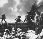 US Marines fighting on Betio, Tarawa Atoll, Nov 1943, photo 2 of 2