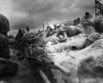 US Marines on the Tarawa invasion beach designated Red Beach 3, Gilbert Islands, 20-21 Nov 1943