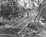 A temporary bridge built with amphibian tractors as floats, Guadalcanal, Solomon Islands, 1942
