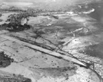 Lunga Point Airfield/Henderson Field, seen from USS Saratoga aircraft, Guadalcanal, Solomon Islands, Aug 1942