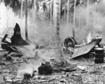 SBD aircraft destroyed in an air attack on Henderson Field, Guadalcanal, Solomon Islands, 1942