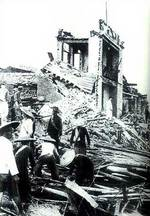 A bombed-out building in Qiankou, Henan, circa May-Jun 1938