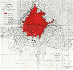 Map showing extent of fire and blast damage to Hiroshima, Japan by the atomic bomb dropped on 6 Aug 1945
