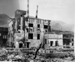 Destroyed industrial building, Nagasaki, Japan, early 1946